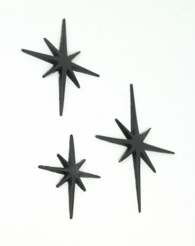 Set of 3 Black Cast Iron 8 Pointed Starburst Wall Hangings Mid Century Stars - Black Perspective: top