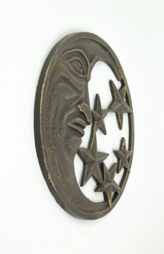 Antique Bronze Finished Cast Iron Crescent Moon and Stars Wall Hanging Perspective: top