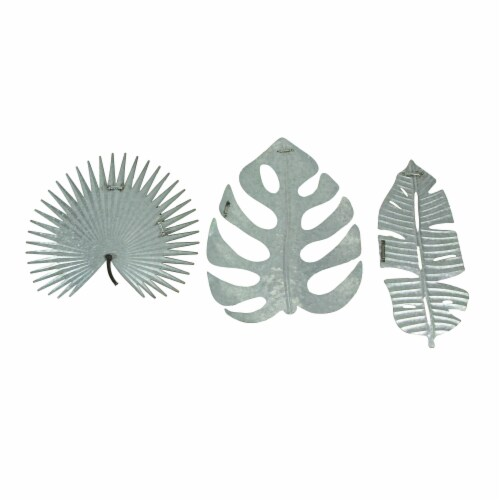Set of 3 Antiqued Green Metal Tropical Leaf Sculptures Wall Hanging Palmetto Monstera Banana Perspective: top