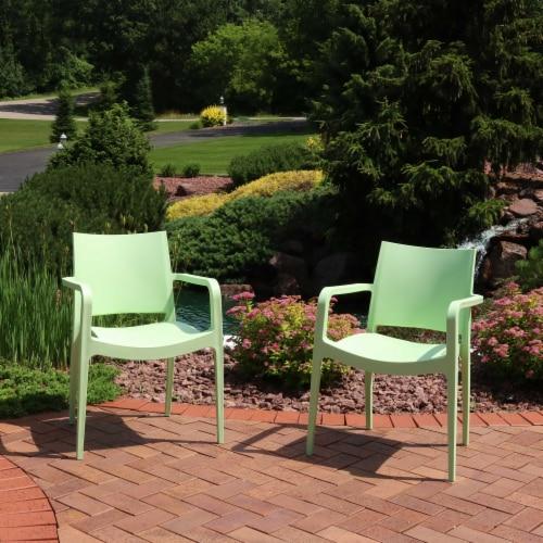 Sunnydaze Landon Indoor Outdoor Plastic Dining Armchair - Light Green - 2-Pack Perspective: top