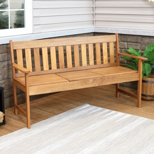 Sunnydaze Meranti Wood Outdoor Occasional Bench with Teak Oil Finish Perspective: top