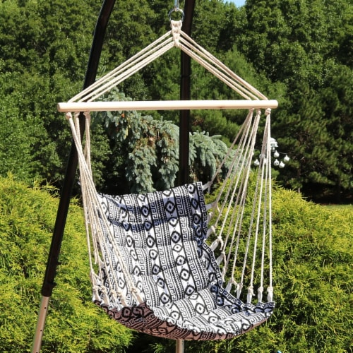 Sunnydaze Padded Polycotton Hammock Chair - Ancient Tribal Print Perspective: top