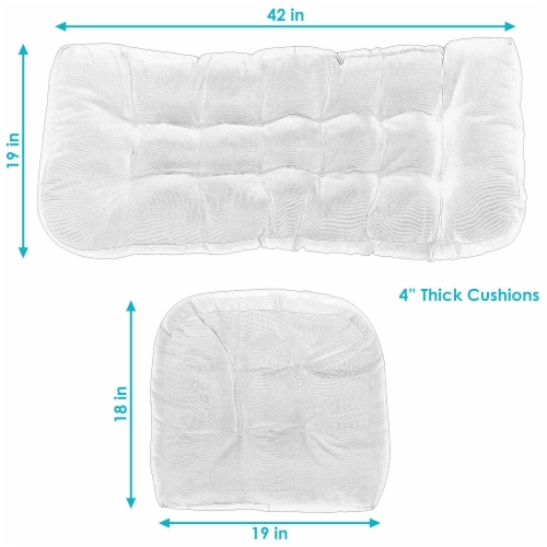 Sunnydaze Tufted Olefin 3-Piece Indoor/Outdoor Settee Cushion Set - Blue Perspective: top