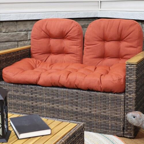 Sunnydaze Tufted Olefin 3-Piece Indoor/Outdoor Settee Cushion Set - Burnt Orange Perspective: top