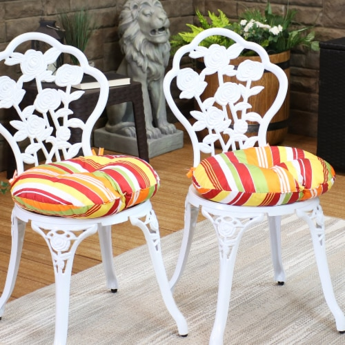Sunnydaze Polyester Round Patio Seat Cushions - Set of 2 - Sherbert Stripes Perspective: top