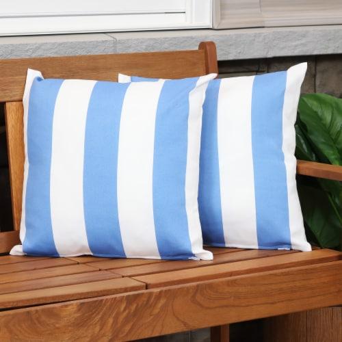 Sunnydaze 2 Outdoor Decorative Throw Pillows - 17 x 17-Inch - Beach-Bound Stripe Perspective: top