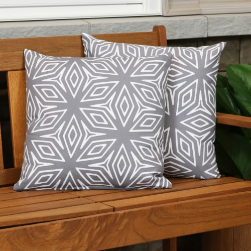 Sunnydaze 2 Outdoor Decorative Throw Pillows - 17 x 17-Inch - Gray Geometric Perspective: top