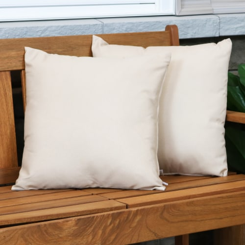 Sunnydaze 2 Outdoor Decorative Throw Pillows - 17 x 17-Inch - Beige Perspective: top