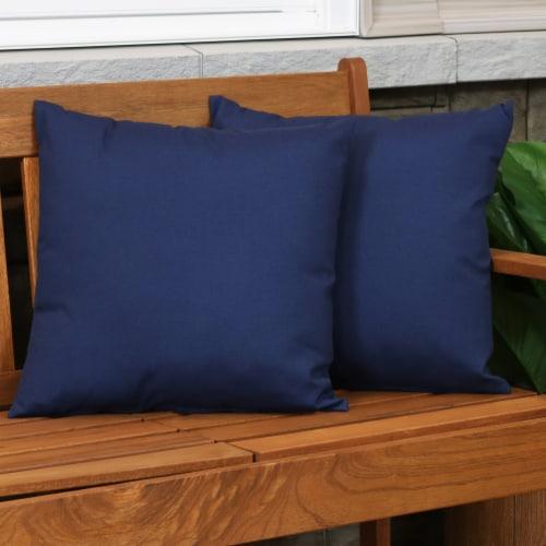 Sunnydaze 2 Outdoor Decorative Throw Pillows - 17 x 17-Inch - Navy Perspective: top