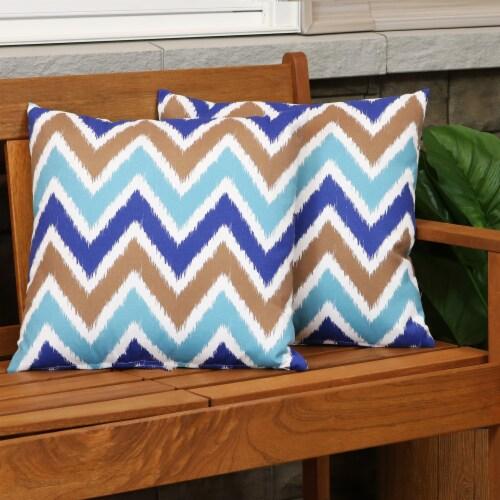 Sunnydaze 2 Outdoor Decorative Throw Pillows - 17 x 17-Inch - Chevron Bliss Perspective: top