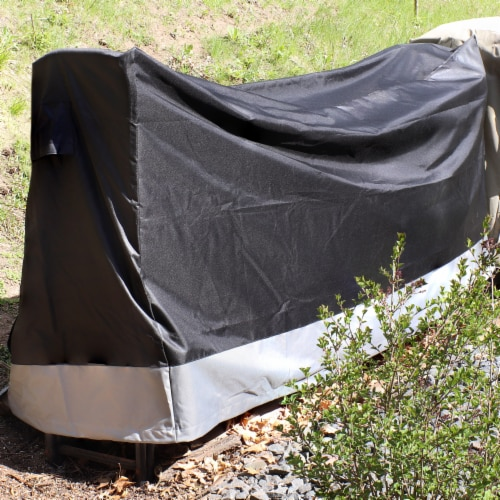 Sunnydaze Log Rack Cover - Gray and Black - Water-Resistant - 6-Foot Perspective: top