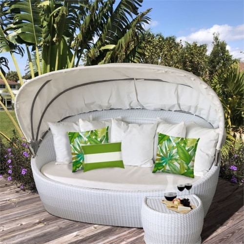 Joita Calypso Palm Polyester Outdoor Pillows in Green (Set of 3) Perspective: top