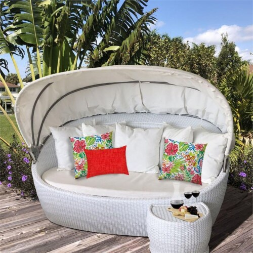 Joita Tropical Fruit Salad Polyester Outdoor Pillows in Red (Set of 3) Perspective: top