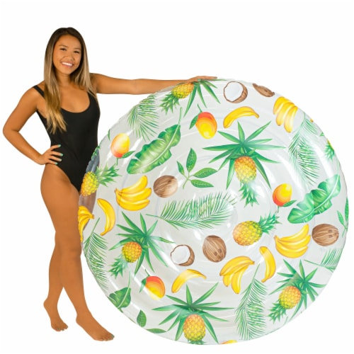 PoolCandy Clear Tropical Pattern Giant Island Float Perspective: top