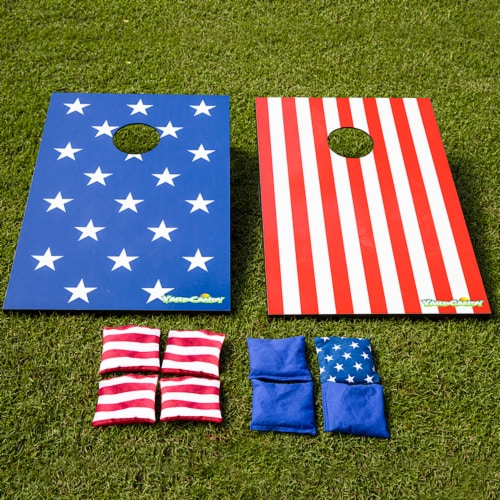 PoolCandy YardCandy Stars & Stripes Wooden Cornhole Set Perspective: top