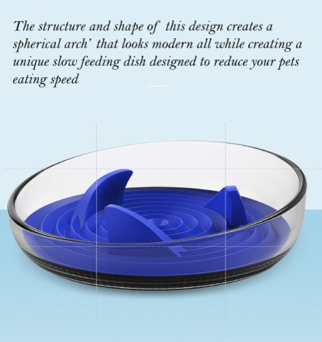 Pet Life 'Cirlicue' Shark Fin Shaped Modern Slow Feeding Pet Bowl, Blue Perspective: top