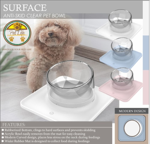 Pet Life 'Surface' Anti-Skid and Anti-Spill Curved and Clear Removable Pet Bowl, Blue Perspective: top