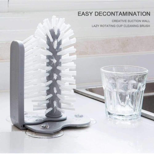 Glass Washer with Double Sided Bristle Brush, Glass Cup Brush Cleaner with Suction Cups Perspective: top