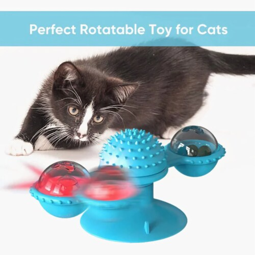 Windmill Cat Toy Turntable Teasing Interactive Cat Toys uction Cup Scratching Tickle Catnip Perspective: top