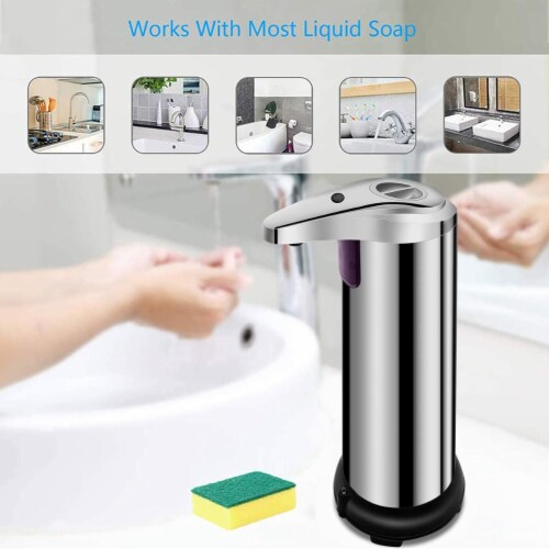 Soap Dispenser, Touchless Automatic Soap Dispenser Waterproof Base Stainless Steel Infrared Perspective: top