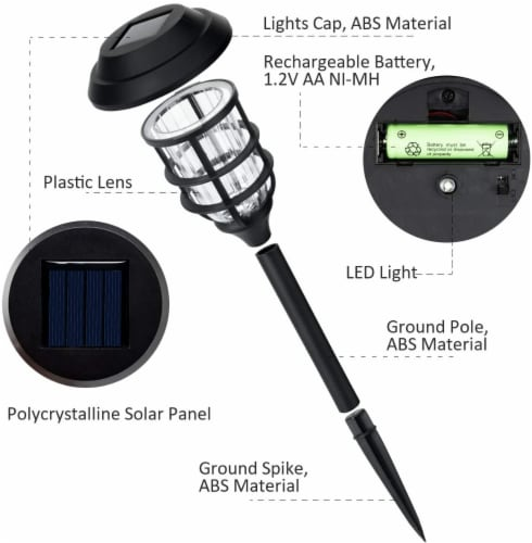 8 pk Solar Led Garden Pathway Lawn Ground Yard Light Water Proof Long lasting -Cool White Perspective: top