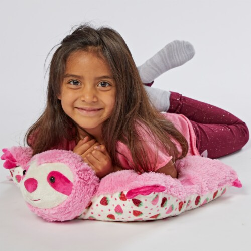 Pillow Pets Sweet Strawberry Scented Sloth Plush Toy Perspective: top