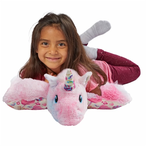 Pillow Pets Sweet Cotton Candy Scented Unicorn Plush Toy Perspective: top