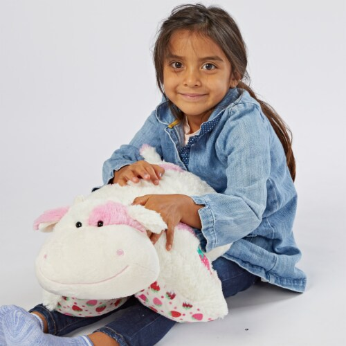Pillow Pets Jumboz Sweet Strawberry Milkshake Scented Cow Plush Toy Perspective: top