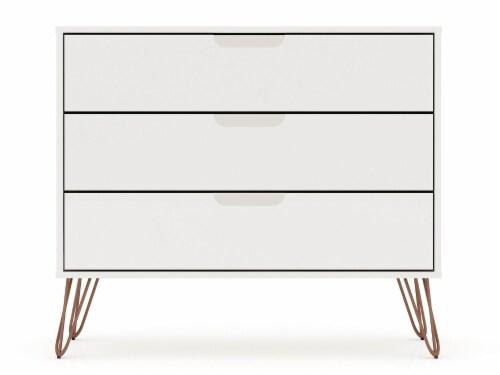 Manhattan Comfort Rockefeller 3-Drawer White Dresser (Set of 2) Perspective: top