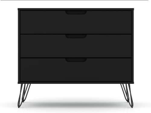 Manhattan Comfort Rockefeller 3-Drawer Black Dresser (Set of 2) Perspective: top