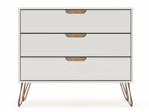 Manhattan Comfort Rockefeller 3-Drawer Off White and Nature Dresser (Set of 2) Perspective: top