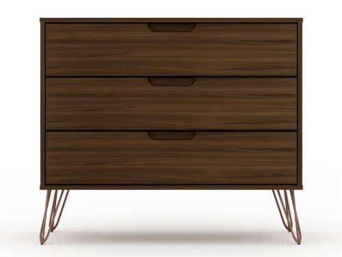 Manhattan Comfort Rockefeller 3-Drawer Brown Dresser (Set of 2) Perspective: top