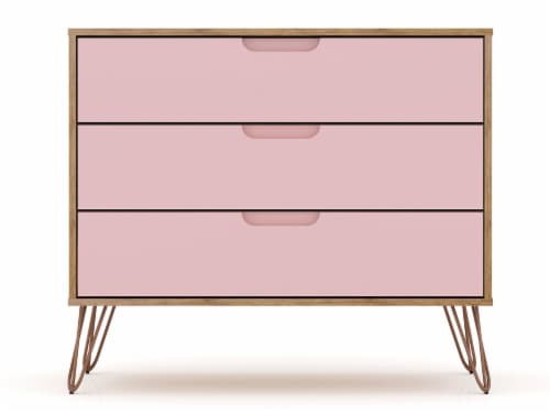 Manhattan Comfort Rockefeller 3-Drawer Nature and Rose Pink Dresser (Set of 2) Perspective: top