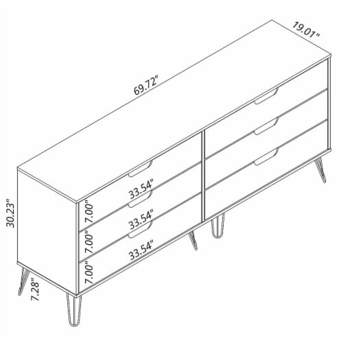 Manhattan Comfort Rockefeller 5-Drawer and 6-Drawer Off White and Nature Dresser Set Perspective: top