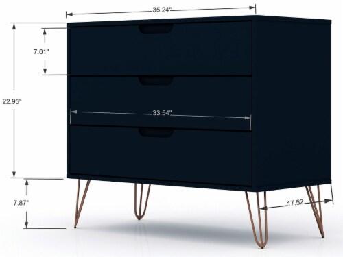Manhattan Comfort Rockefeller 3-Piece Tatiana Midnight Blue Dresser and Nightstand Set Perspective: top