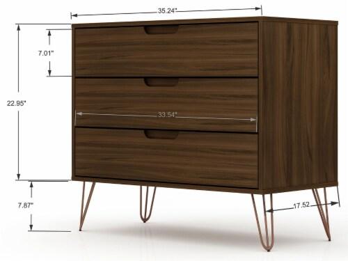 Manhattan Comfort Rockefeller 3-Piece Brown Dresser and Nightstand Set Perspective: top