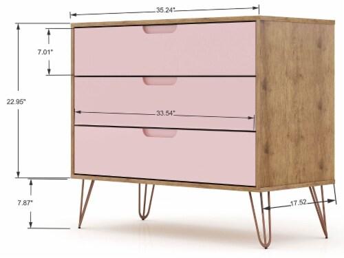 Manhattan Comfort Rockefeller 3-Piece Nature and Rose Pink Dresser and Nightstand Set Perspective: top