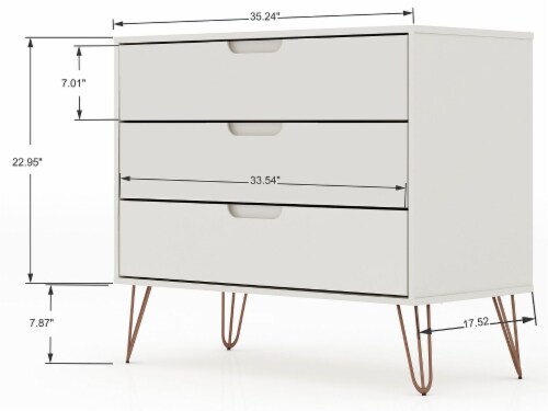 Manhattan Comfort Rockefeller 3-Piece Off White and Nature Dresser and Nightstand Set Perspective: top
