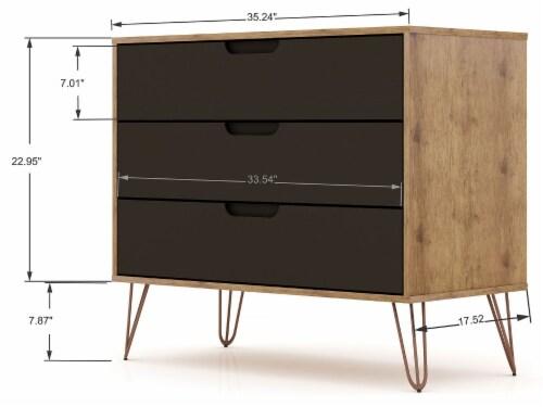 Manhattan Comfort Rockefeller 3-Piece Nature and Textured Grey Dresser and Nightstand Set Perspective: top