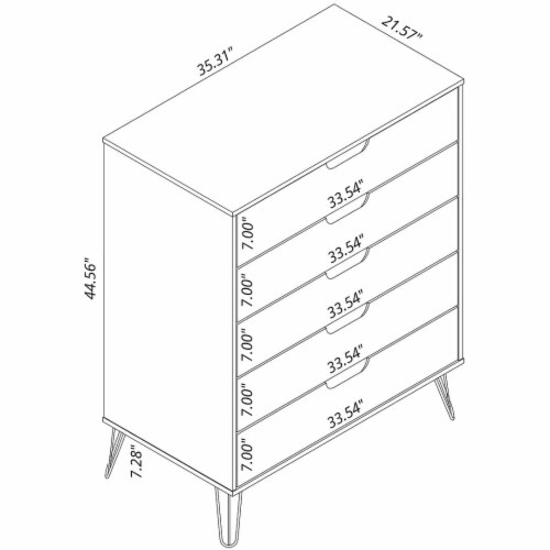 Manhattan Comfort Rockefeller 5-Drawer and 3-Drawer Off White and Nature Dresser Set Perspective: top
