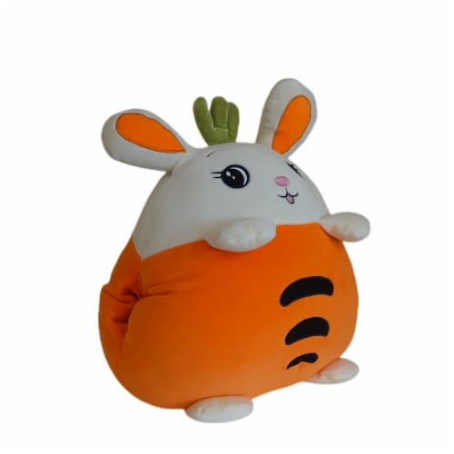Carrot Bunny Plush Pillow Stuffed Toy | Swiss Jasmine® Plushies | with Blanket | 16 Inches Perspective: top