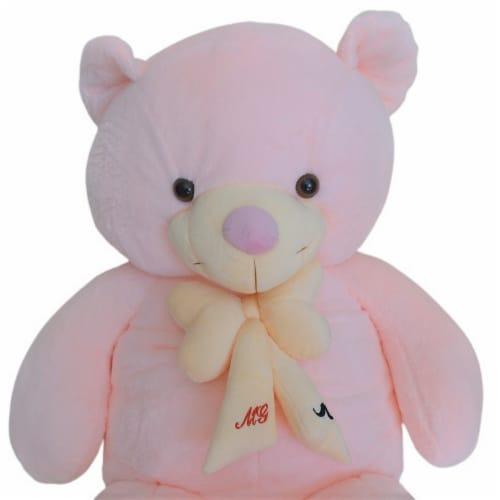 Teddy Bear   Bearded Bowtie Stuffed Animal   Swiss Jasmine® Plushies   32 Inches, Pink Perspective: top