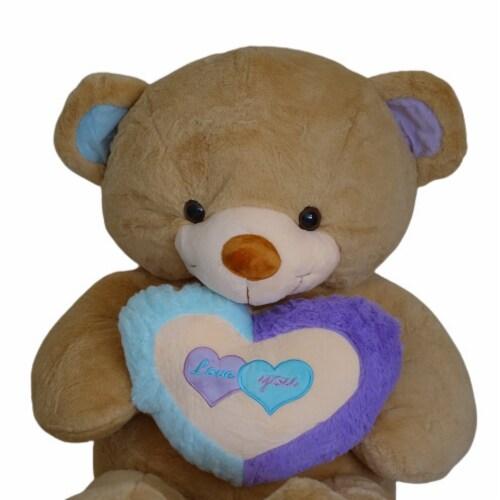 Teddy Bear Rainbow Love Heart Stuffed Animal   Swiss Jasmine® Plushies   32 Inches Perspective: top