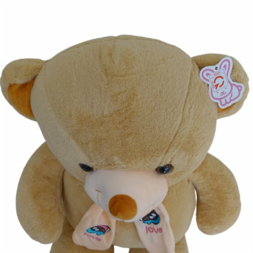 Teddy Bear   Scarf Bowtie Stuffed Animal   Swiss Jasmine® Plushies   32 Inches, Brown Perspective: top