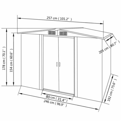 vidaXL Garden Storage Shed Gray Metal 101.2 x80.7 x70.1 Perspective: top
