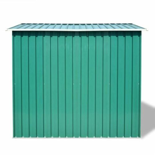 vidaXL Garden Storage Shed Green Metal 101.2 x80.7 x70.1 Perspective: top