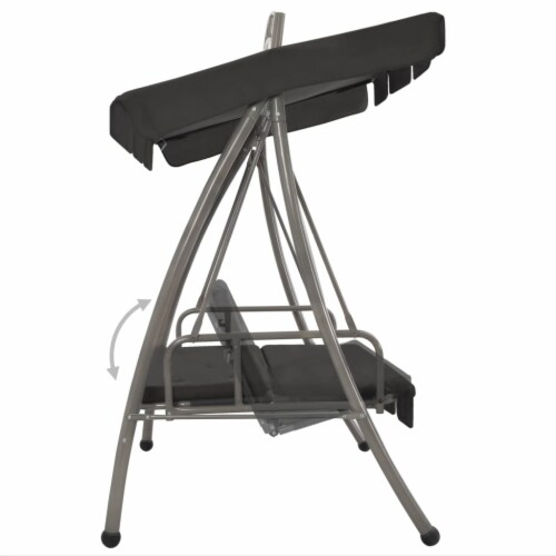 vidaXL Outdoor Convertible Swing Bench with Canopy Anthracite 78 x47.2 x80.7  Steel Perspective: top