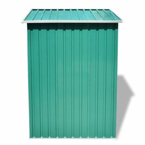vidaXL Garden Storage Shed Green Metal 80.3 x52 x73.2 Perspective: top
