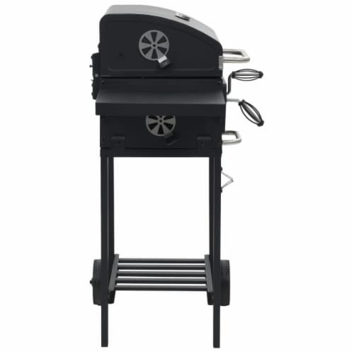 vidaXL Charcoal-Fueled BBQ Grill with Bottom Shelf Black Perspective: top