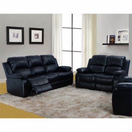 Lifestyle Furniture Raymond 2-Pieces Faux Leather Recliner Sofa Set in Black Perspective: top